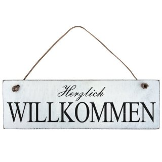 shabby chic herzlich willkommen schild t rschild dekoschild holz. Black Bedroom Furniture Sets. Home Design Ideas