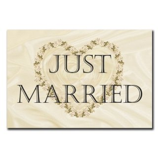 Just married Deko Schild Wandschild