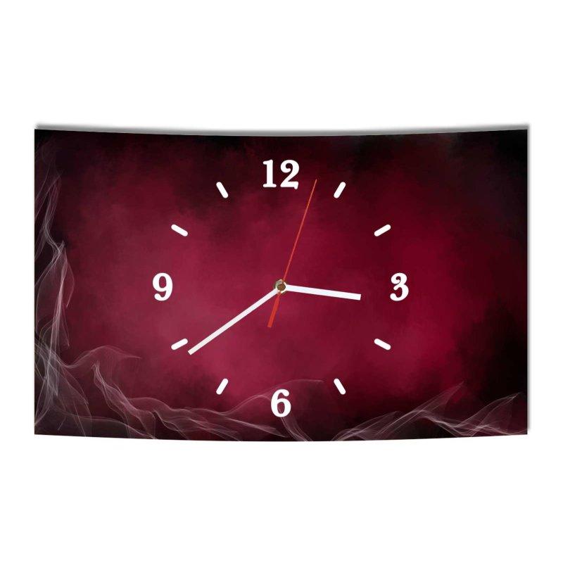 lautlose designer wanduhr abstrakt rot lila rauch modern dekoschild a. Black Bedroom Furniture Sets. Home Design Ideas