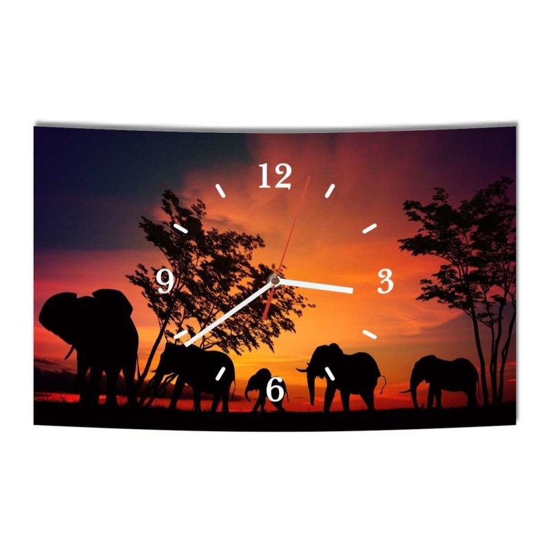 lautlose designer wanduhr afrika elefant elefanten schwarz orange mod. Black Bedroom Furniture Sets. Home Design Ideas