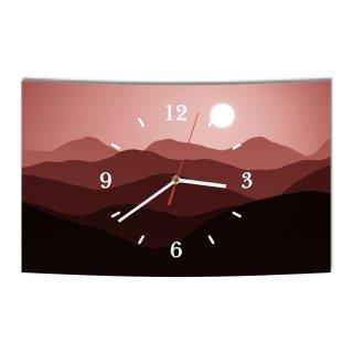 LAUTLOSE Designer Wanduhr Abstrakt Berge rot modern Dekoschild Abstrakt Bild 38 x 25cm