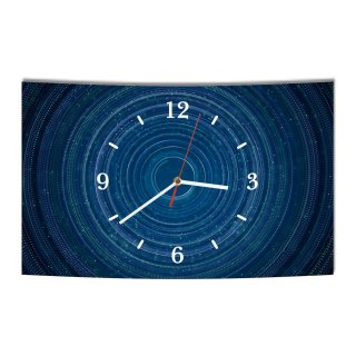 LAUTLOSE Designer Wanduhr Abstrakt blau schwarz modern Dekoschild Abstrakt Bild 38 x 25cm