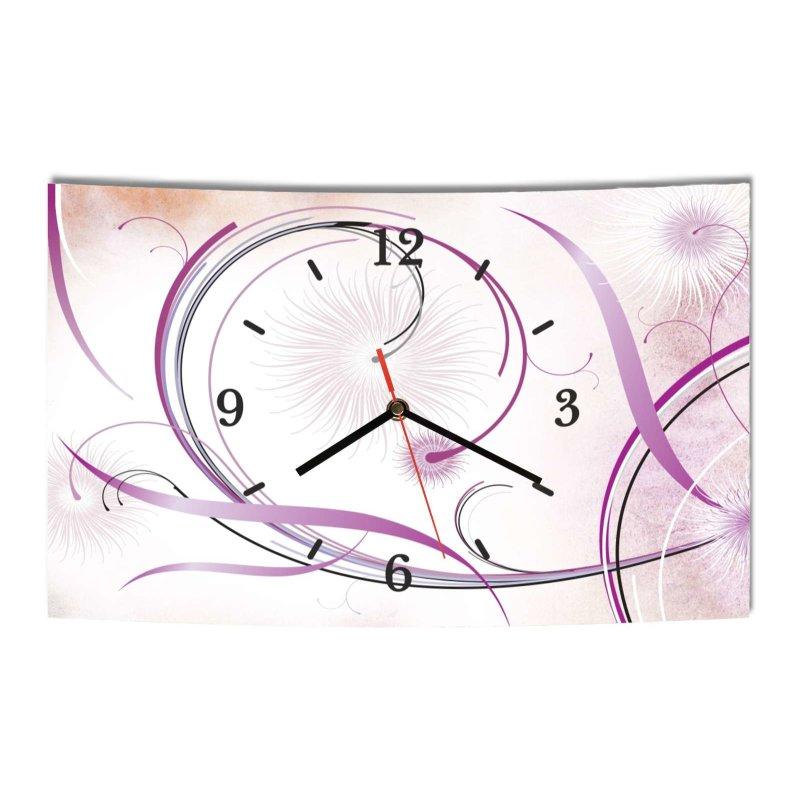lautlose designer wanduhr abstrakt blumen lila wei modern deko. Black Bedroom Furniture Sets. Home Design Ideas