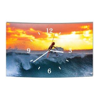 LAUTLOSE Designer Wanduhr Surfer Meer Wasser blau orange modern Dekoschild Abstrakt Bild 38 x 25cm