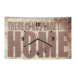 LAUTLOSE Designer Wanduhr There is no place like home beige modern Dekoschild Abstrakt Bild 38 x 25cm