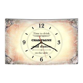 LAUTLOSE Designer Wanduhr Time to drink Champagne and dance on the table beige vintage modern Dekoschild Abstrakt Bild 38 x 25cm