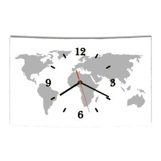 LAUTLOSE Designer Wanduhr Weltkarte weiß grau modern Dekoschild Abstrakt Bild 38 x 25cm