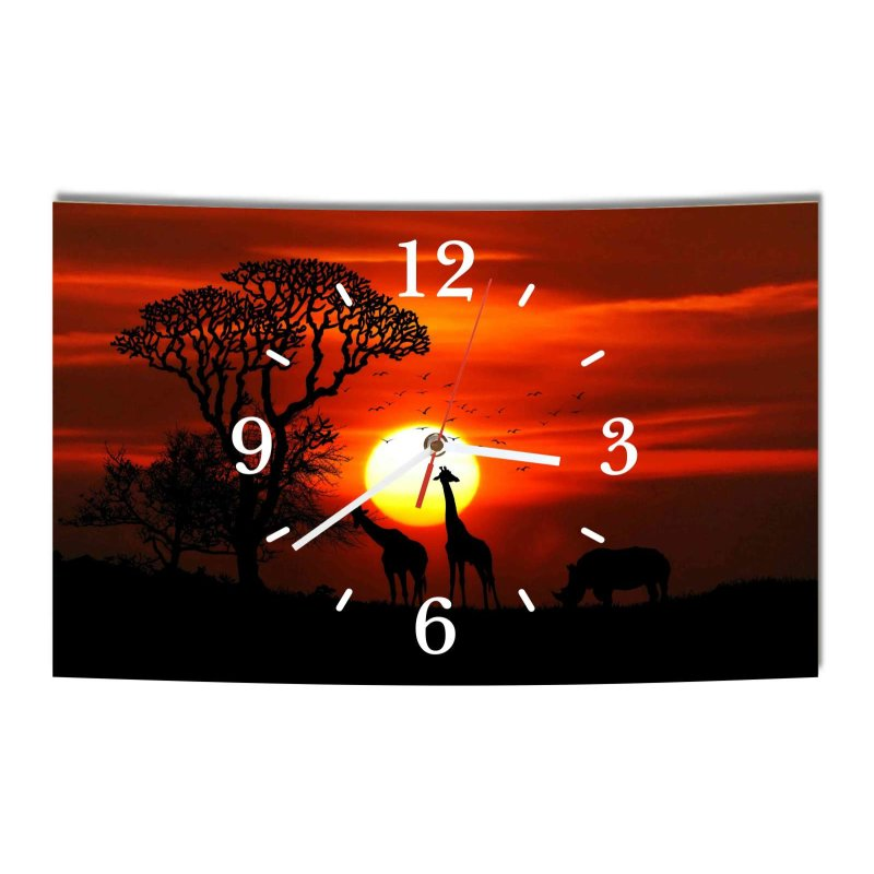 lautlose designer wanduhr afrika nashorn giraffe schwarz orange moder. Black Bedroom Furniture Sets. Home Design Ideas