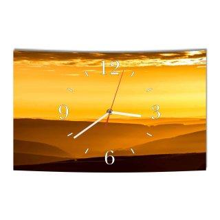 LAUTLOSE Designer Wanduhr Sonnenuntergang gelb braun modern Dekoschild Abstrakt Bild 39 x 25cm