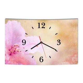 LAUTLOSE Designer Wanduhr Vintage Blume weiß rosa orange modern Dekoschild Abstrakt Bild 39 x 25cm