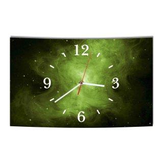 LAUTLOSE Designer Wanduhr Weltall Sterne grün schwarz modern Dekoschild Abstrakt Bild 39 x 25cm
