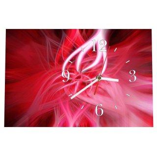 LAUTLOSE Designer Tischuhr Abstrakt rot Standuhr modern Dekoschild Bild 30 x 20cm