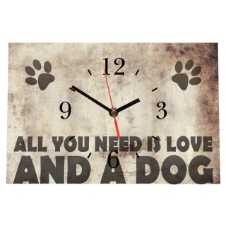 LAUTLOSE Designer Tischuhr All you need is love and a dog beige Standuhr modern Dekoschild Bild 30 x 20cm