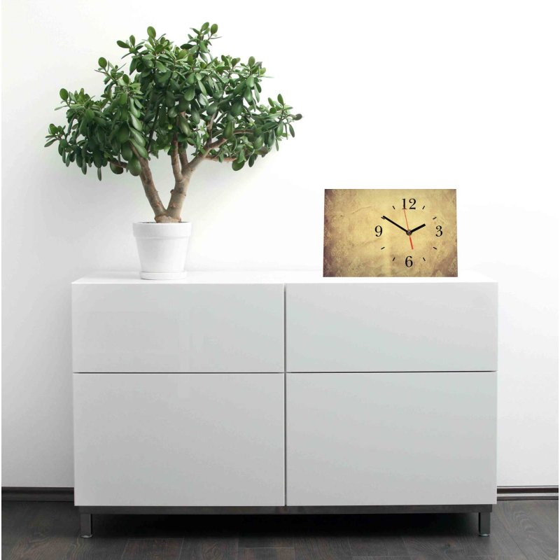 lautlose designer tischuhr altes papier beige standuhr modern dekosch. Black Bedroom Furniture Sets. Home Design Ideas