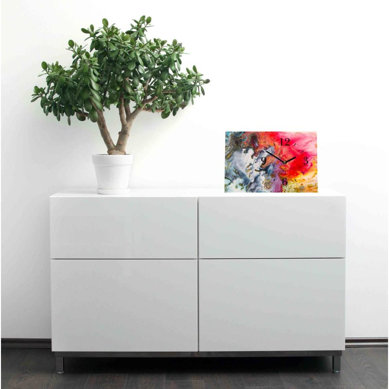 lautlose designer tischuhr aquarell abstrakt bunt standuhr. Black Bedroom Furniture Sets. Home Design Ideas