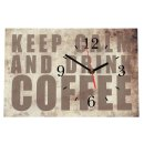 LAUTLOSE Designer Tischuhr Keep Calm and drink Coffee...