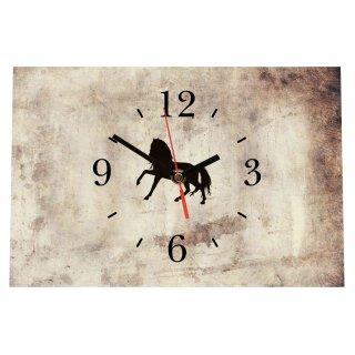 LAUTLOSE Designer Tischuhr Pferd Vintage beige Standuhr modern Dekoschild Bild 30 x 20cm