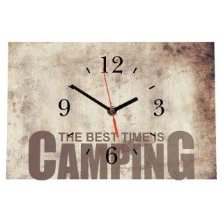LAUTLOSE Designer Tischuhr The best Time is Camping beige Standuhr modern Dekoschild Bild 30 x 20cm
