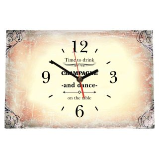 LAUTLOSE Designer Tischuhr Time to drink Champagne and dance on the table beige vintage Standuhr modern Dekoschild Bild 30 x 20cm