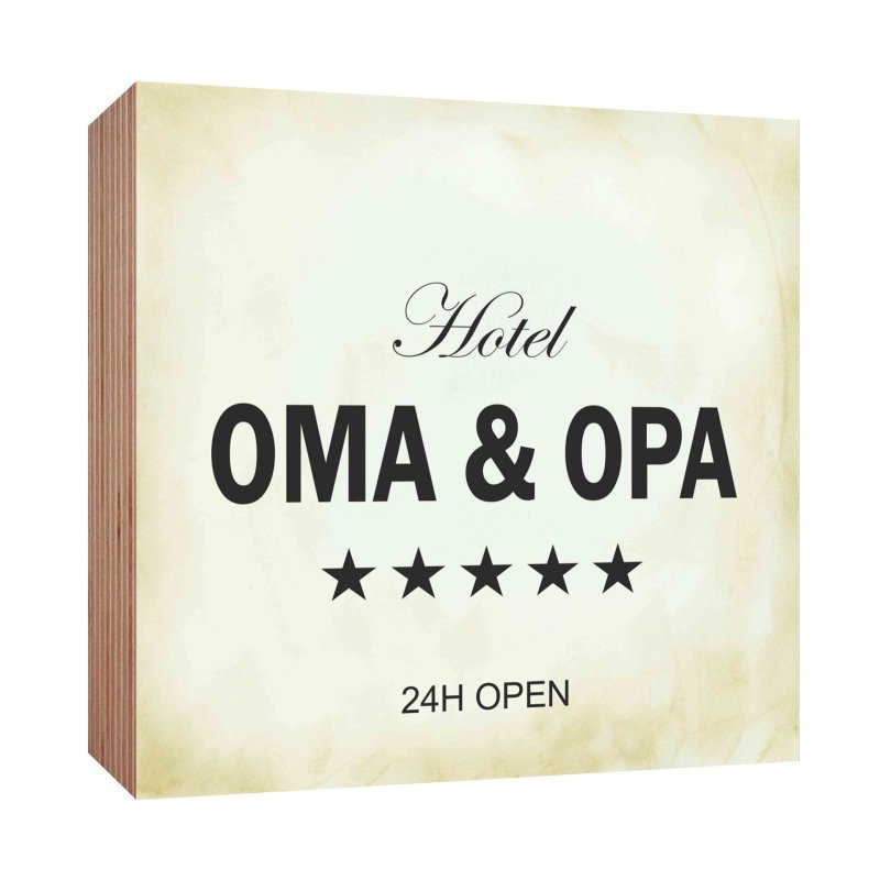 holzschild hotel oma und opa holzbild zum hinstellen oder aufh ngen b. Black Bedroom Furniture Sets. Home Design Ideas