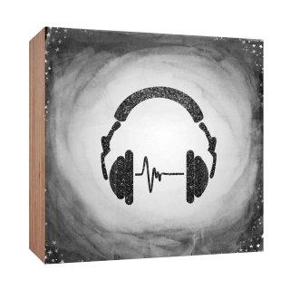 Holzschild Kopfhörer Musik Beat grau schwarz Holzbild zum hinstellen oder aufhängen Bild mit Spruch aus Holz Wandschild Dekoschild