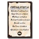 Holzschild Dekoschild Camping Regeln mit Spruch 20x30cm Shabby Chic Vintage Wandschild Türschild Holzbild Holztafel Bild