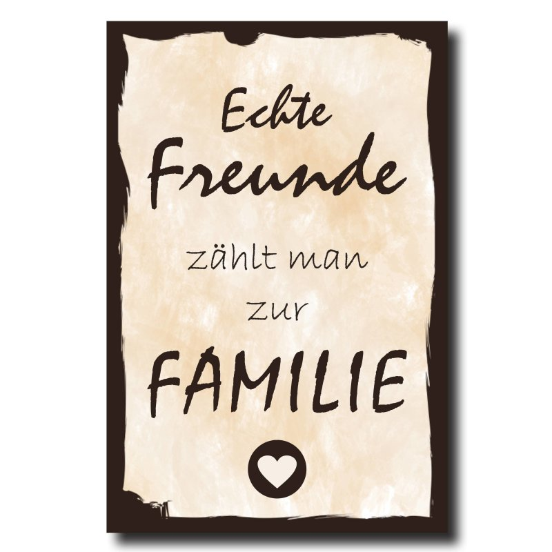 holzschild dekoschild echte freunde z hlt man zur familie mit spruch. Black Bedroom Furniture Sets. Home Design Ideas