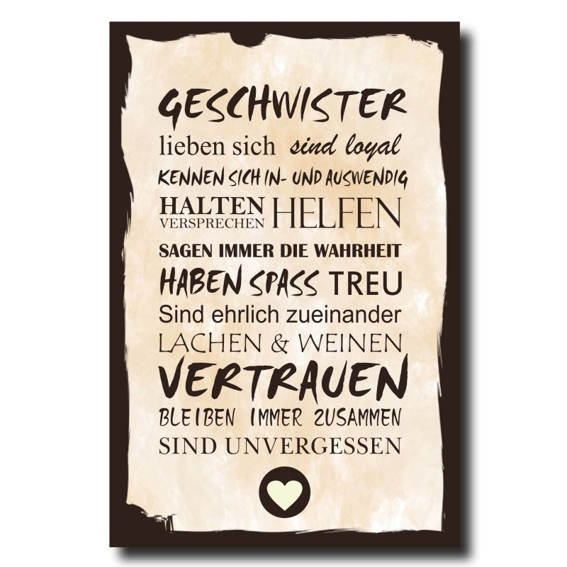 holzschild dekoschild geschwister mit spruch 20x30cm shabby chic vint. Black Bedroom Furniture Sets. Home Design Ideas