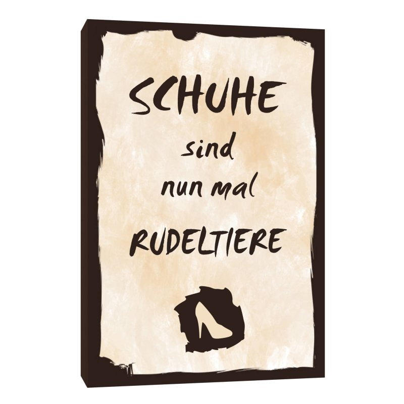 holzschild dekoschild schuhe sind nun mal rudeltiere mit spruch 20x30. Black Bedroom Furniture Sets. Home Design Ideas