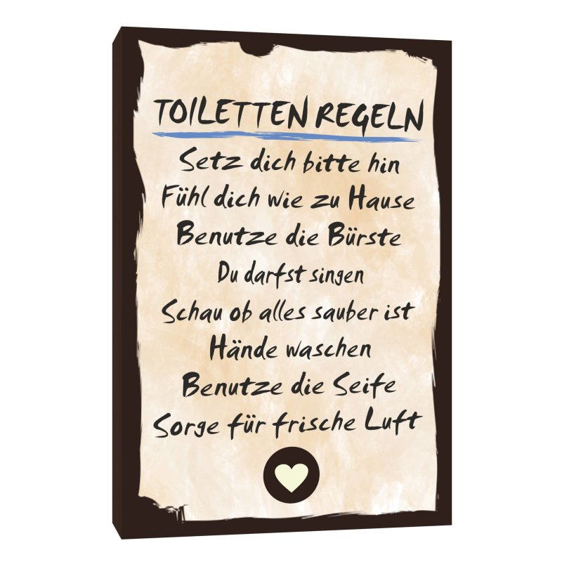 holzschild dekoschild toiletten regeln mit spruch 20x30cm shabby chic. Black Bedroom Furniture Sets. Home Design Ideas