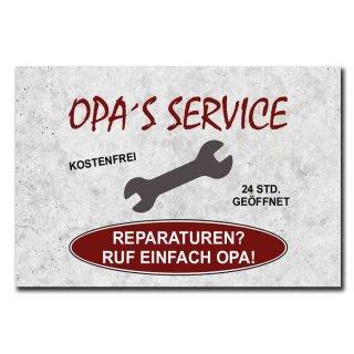 Hochwertiges Metallschild 30 x 20 cm aus Alu Verbund Opas Service Reparaturen frag einfach Opa Deko Schild Wandschild
