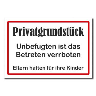 Hochwertiges Metallschild 30 x 20 cm aus Alu Verbund Privatgrundstück Unbefugten ist das Betreten verboten Deko Schild Wandschild