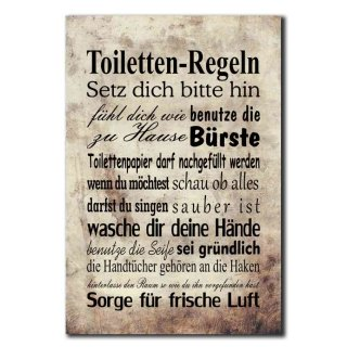 Hochwertiges Metallschild 30 x 20 cm aus Alu Verbund Toiletten Regeln Deko Schild Wandschild