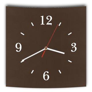 LAUTLOSE Designer Wanduhr mit Spruch dunkelbraun braun grau weiß modern Dekoschild Abstrakt Bild 29,5 x 28cm