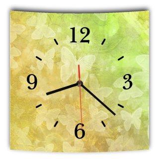 LAUTLOSE Designer Wanduhr mit Spruch Gelb Grün Schmetterlinge grau weiß modern Dekoschild Abstrakt Bild 29,5 x 28cm