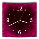 LAUTLOSE Designer Wanduhr mit Spruch Herz pink lila Mädchen grau weiß modern Dekoschild Abstrakt Bild 29,5 x 28cm