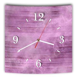 LAUTLOSE Designer Wanduhr mit Spruch Holz Bretter Optik lila violett grau weiß modern Dekoschild Abstrakt Bild 29,5 x 28cm