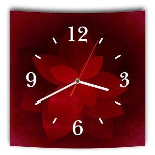 LAUTLOSE Designer Wanduhr mit Spruch Rot schwarz Blume grau weiß modern Dekoschild Abstrakt Bild 29,5 x 28cm