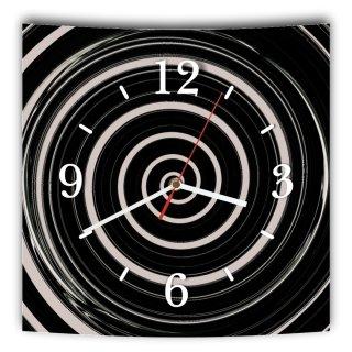 LAUTLOSE Designer Wanduhr mit Spruch Schwarz weiß Kreisel Abstrakt grau weiß modern Dekoschild Abstrakt Bild 29,5 x 28cm