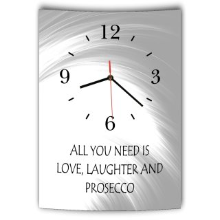 LAUTLOSE Designer Wanduhr mit Spruch All you need ist love loughter and Prosecco grau weiß modern Dekoschild Schild Deko Bild 41 x 28cm Abstrakt
