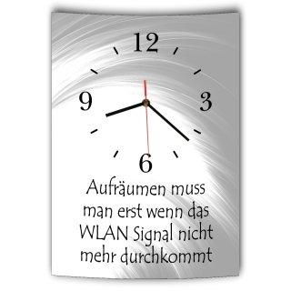 LAUTLOSE Designer Wanduhr mit Spruch Aufräumen muss man erst wenn das Wlan Signal nicht mehr durchkommt grau weiß modern Dekoschild Schild Deko Bild 41 x 28cm Abstrakt