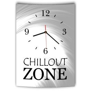 lautlose designer wanduhr mit spruch chillout zone grau. Black Bedroom Furniture Sets. Home Design Ideas