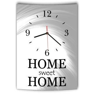 LAUTLOSE Designer Wanduhr mit Spruch Home sweet Home grau weiß modern Dekoschild Schild Deko Bild 41 x 28cm Abstrakt