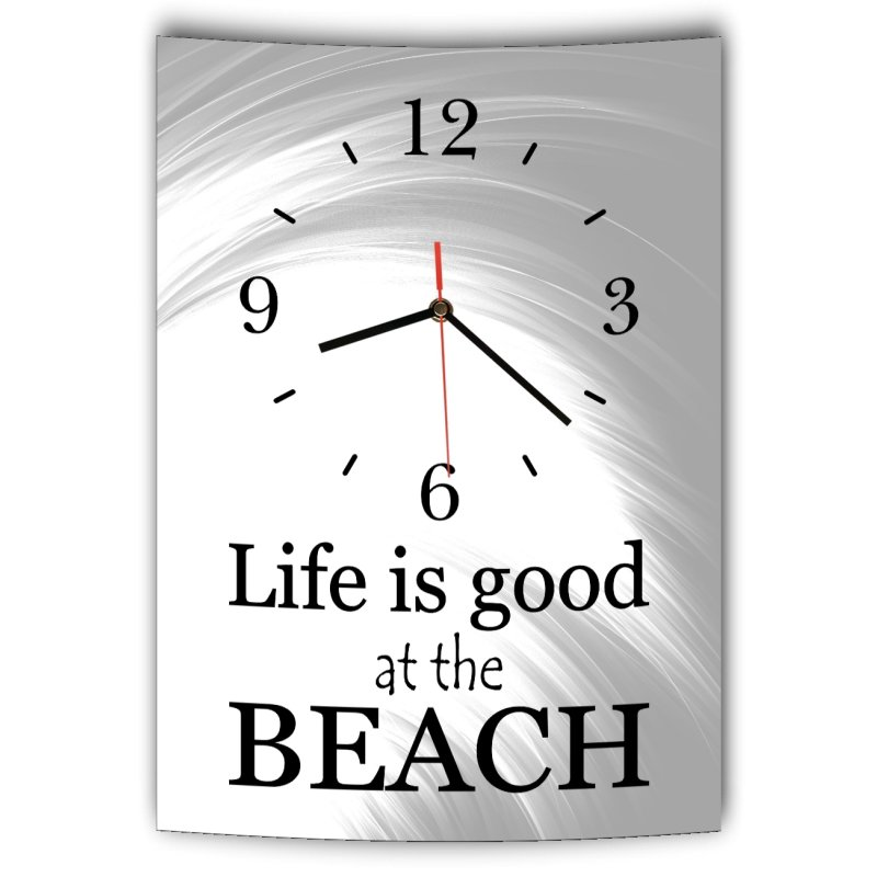 lautlose designer wanduhr mit spruch life is good at the beach grau w. Black Bedroom Furniture Sets. Home Design Ideas
