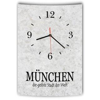 LAUTLOSE Designer Wanduhr mit Spruch München die geilste Stadt der Welt grau Betonoptik modern Deko Schild Abstrakt Bild 41 x 28cm