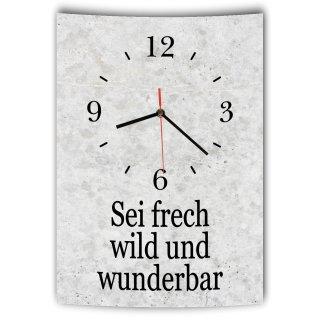 LAUTLOSE Designer Wanduhr mit Spruch Sei frech wild und wunderbar grau Betonoptik modern Deko Schild Abstrakt Bild 41 x 28cm