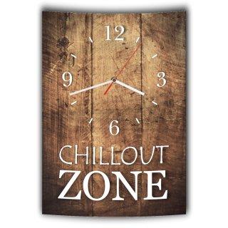 LAUTLOSE Designer Wanduhr mit Spruch Chillout Zone Holz Holzoptik modern Deko schild Abstrakt Bild 41 x 28cm