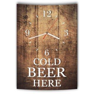 LAUTLOSE Designer Wanduhr mit Spruch Cold Beer here Holz Holzoptik modern Deko schild Abstrakt Bild 41 x 28cm