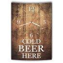 LAUTLOSE Designer Wanduhr mit Spruch Cold Beer here Holz...
