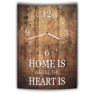 LAUTLOSE Designer Wanduhr mit Spruch Home is where the heart is Holz Holzoptik modern Deko schild Abstrakt Bild 41 x 28cm